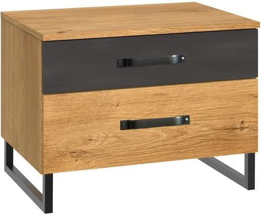 Nachttisch Detroit mit Schubladen, Korpus: Mitteldichte Holzfaserpla, Plankeneiche, 58 x 45 cm