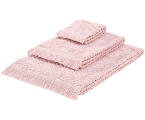 Set asciugamani Jacqui, 3 pz., Rosa