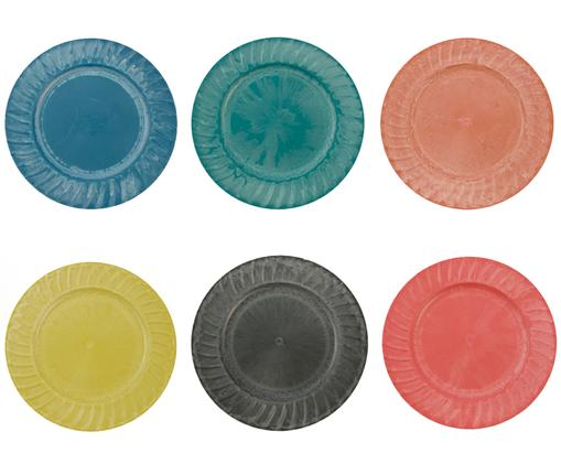 Ensemble d'assiettes de présentation Sardinia, 6élém., Bleu, vert, orange, jaune, noir, rouge