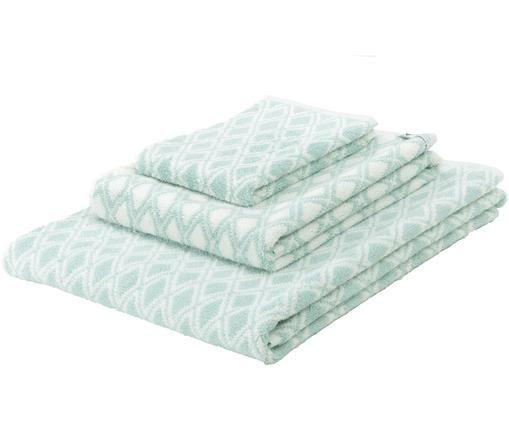 Komplet dwustronnych ręczników Ava, 3elem., 100% bawełna Średnia gramatura 550 g/m², Zielony miętowy, kremowobiały, Różne rozmiary