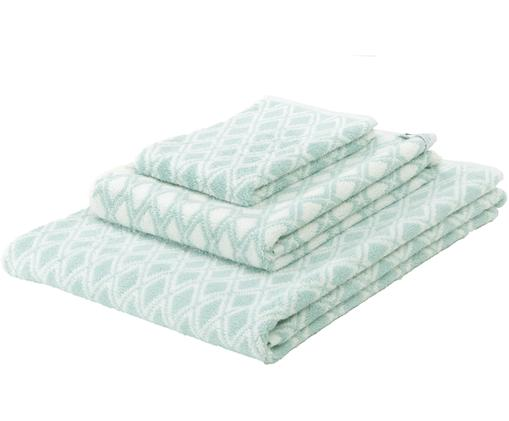 Set asciugamani reversibili Ava, 3 pz., 100% cotone, qualità media 550g/m², Verde menta, bianco crema, Diverse dimensioni