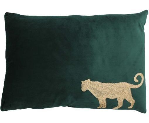 Haftowana poduszka z aksamitu  z wypełnieniem Single Leopard, Aksamit, Zielony, odcienie złotego, S 40 x D 60 cm