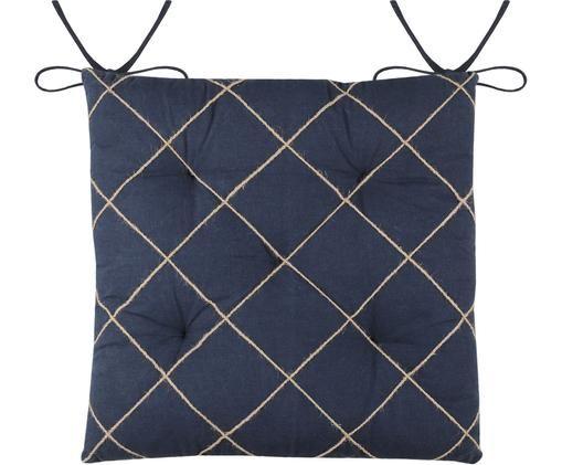 Sitzauflage Concarneau mit erhabenem Muster, Baumwolle, Dunkelblau, 40 x 40 cm