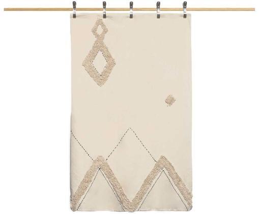 Copriletto in cotone con modello a rilievo Royal, Cotone, Bianco crema, marrone, Larg. 180 x Lung. 260 cm