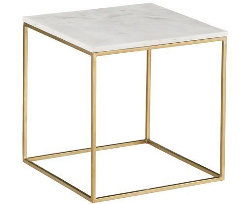 Marmeren bijzettafel Alys, Tafelblad: marmer natuursteen, Frame: gecoat metaal, Tafelblad: wit-grijs marmer. Frame: goudkleurig, glanzend, 50 x 50 cm