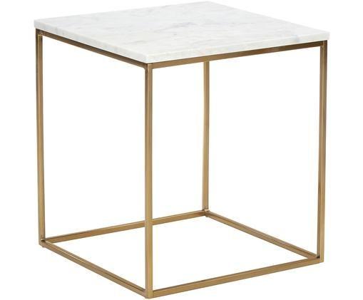Mesa auxiliar de mármol Alys, Tablero: mármol natural, Estructura: metal con pintura en polv, Blanco veteado, dorado, An 50 x Al 50 cm