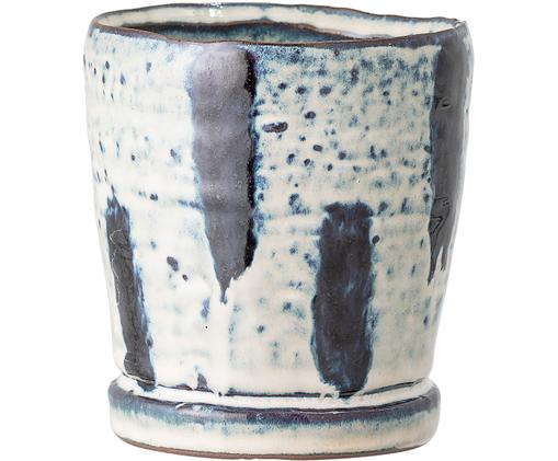 Portavaso fatto a mano Werto, Gres, Blu, bianco, Ø 10 x Alt. 11 cm
