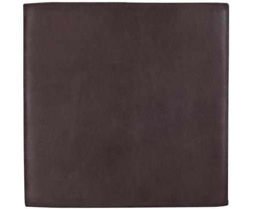 Leder-Sitzauflage Elegance, Vorderseite: 100% Leder, Rückseite: 100% Baumwolle, Dunkelbraun, 40 x 40 cm