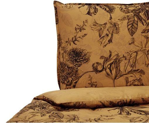 Baumwollsatin-Wendebettwäsche Vivienne mit Blumenmuster, Ocker, Schwarz, Grau, 135 x 200 cm