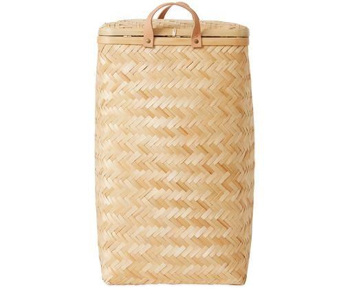 Cesta de lavandería Sporta, Exterior: madera de bambú, Interior: algodón, Asas: cuero, Beige, An 34 x Al 56 cm