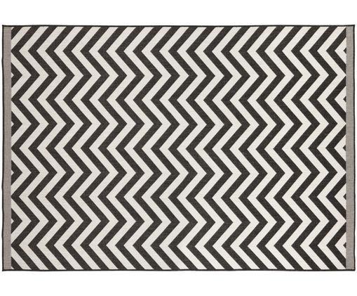 Dwustronny dywan wewnętrzny/zewnętrzny Palma, Czarny, kremowy, S 200 x D 290 cm (Rozmiar L)
