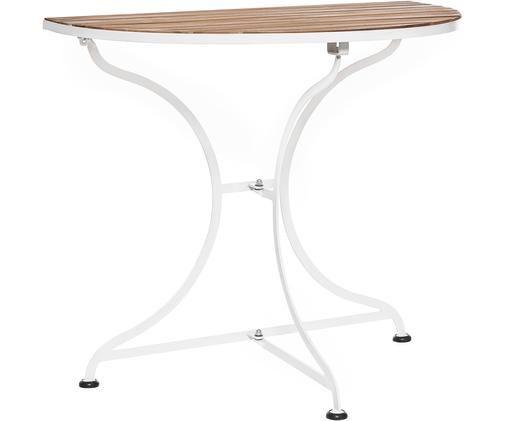 Półokrągły stół balkonowy z drewnianym blatem Parklife, Blat: drewno akacjowe, olejowan, Stelaż: metal ocynkowany, malowan, Biały, drewno akacjowe, S 85 x W 75 cm