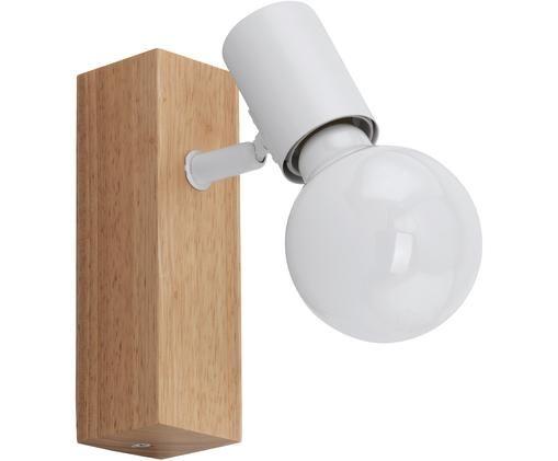 Applique Townshend, Acciaio rivestito, legno, Bianco, legno, Larg. 5 x Alt. 17 cm