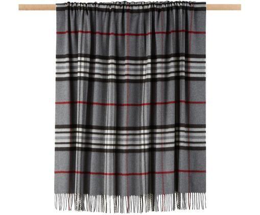 Plaid scozzese Classy Side, Poliacrilico, Grigio, grigio chiaro, rosso, nero, bianco, Larg. 130 x Lung. 170 cm
