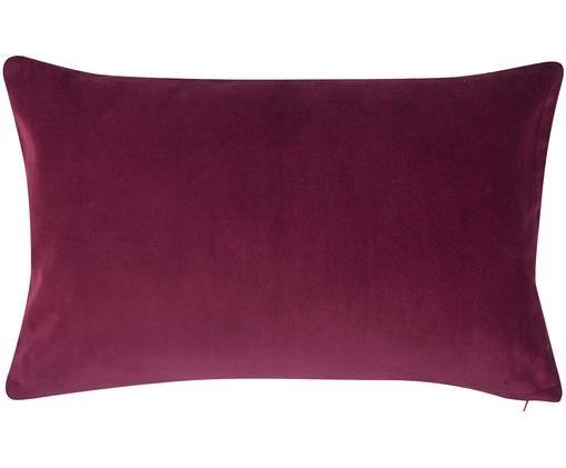 Poszewka na poduszkę z aksamitu Alyson, 100% aksamit bawełniany, Wiśniowy, S 30 x D 50 cm