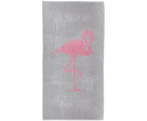 Ręcznik plażowy Mingo, Bawełna Niska gramatura 380 g/m², Szary, różowy, S 80 x D 160 cm