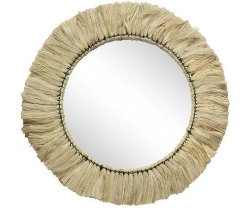 Specchio da parete Flat, Cornice: juta, Superficie dello specchio: lastra di vetro, Beige, Larg. 52 x Alt. 52 cm