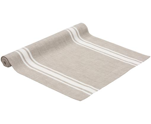 Chemin de table New French, Taupe, blanc