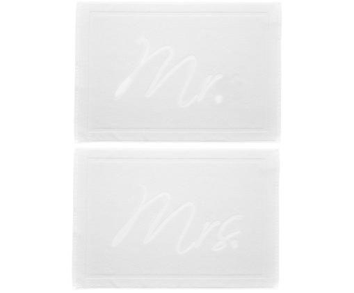 Badvorleger-Set Mr. & Mrs. mit Aufschrift, 2-tlg., 100% Baumwolle schwere Qualität, 750 g/m², Weiß, 50 x 70 cm