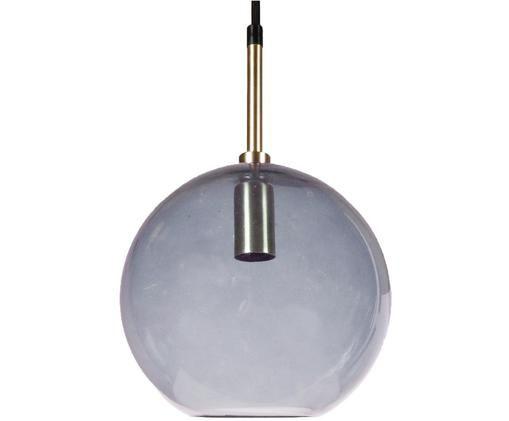Kugel-Pendelleuchte Milla aus Glas, Lampenschirm: Glas, Baldachin: Metall, beschichtet, Grau, Messingfarben, Schwarz, Ø 20 x H 36 cm