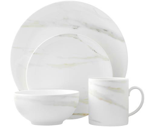 Geschirr-Set Venato Imperial, 4-tlg., Fine Bone China in Marmor-Optik, Weiss, marmoriert, Verschiedene Grössen