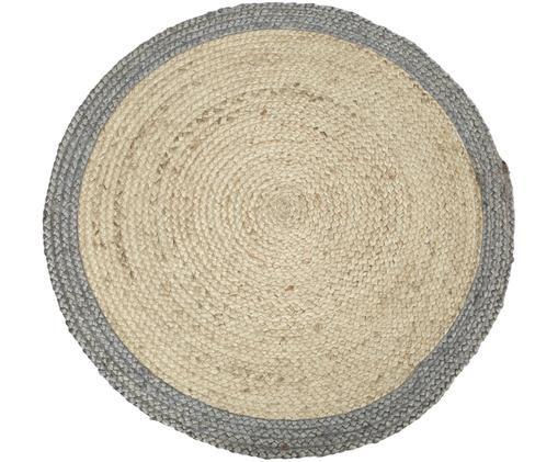 Tappeto rotondo in juta fatto a mano Shanta, Vello: juta, Retro: juta, Beige, grigio, Ø 100 cm (taglia XS)