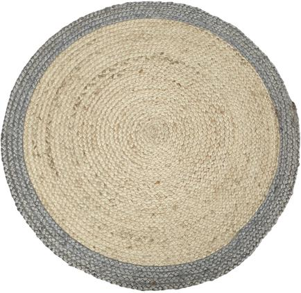 Runder Jute-Teppich Shanta mit grauem Rand, handgefertigt