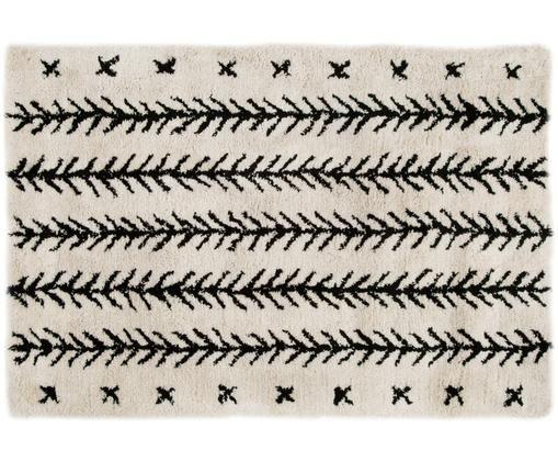 Handgetuft vloerkleed Mayla, Bovenzijde: 100% polyester, Onderzijde: 100% katoen, Crèmekleurig, zwart, 120 x 180 cm