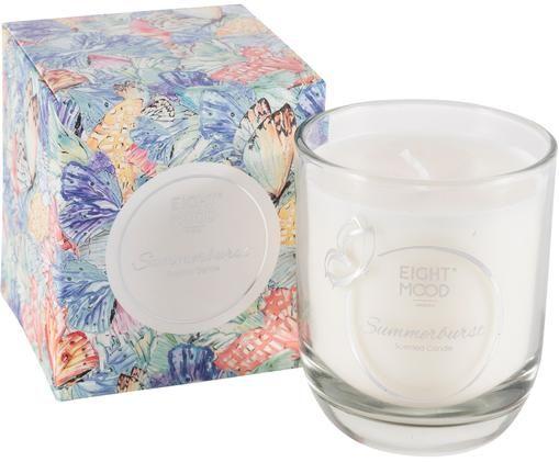 Duftkerze Summerburst (Apfel, Rum & Orange), Box: Papier, Behälter: Glas, Blau, Mehrfarbig, 8 x 9 cm