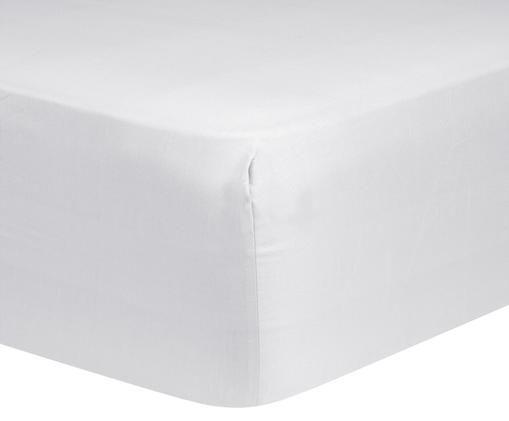 Lenzuolo con angoli per il letto continentale Comfort, raso di cotone, Grigio chiaro, Larg. 90 x Lung. 200 cm