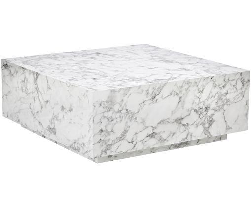 Schwebender Couchtisch Lesley in Marmoroptik, Mitteldichte Holzfaserplatte (MDF), mit Melaminfolie überzogen, Weiss, marmoriert, B 90 x T 90 cm