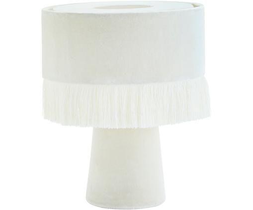 Lampa stołowa z aksamitu Violina, Złamana biel, Ø 25 x W 31 cm