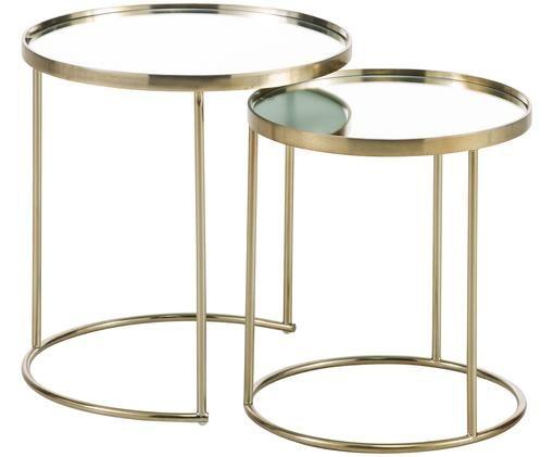 Set tavolini d'appoggio Mija, 2 pz., Ottone, finitura antica