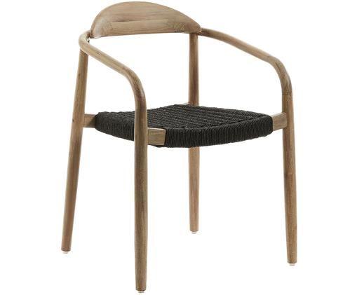 Sedia con braccioli Nina in legno massiccio, Struttura: legno di eucalipto massic, Seduta: poliestere, resistente ai, Marrone, grigio scuro, Larg. 56 x Prof. 53 cm
