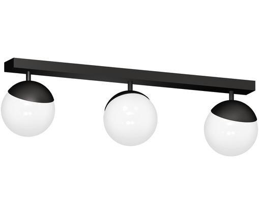 Plafondlamp Sfera, Lampenkap: opaalglas, Wit, zwart, 65 x 25 cm