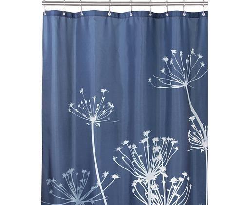 Kurzer Duschvorhang Tilda, Polyester Wasserabweisend, nicht wasserdicht, Blau, Weiß, 183 x 183 cm