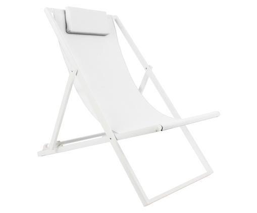 Liegestuhl Cali, Bezug: 70% Polyvinylchlorid (PVC, Gestell: Aluminium, pulverbeschich, Gestell: Weiß, matt Bezug: Weiß, B 55 x T 96 cm