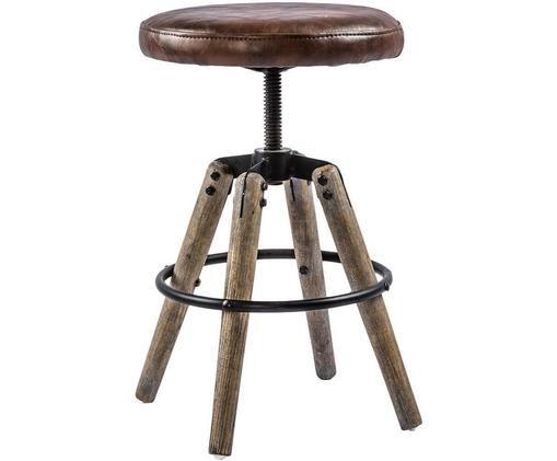 Taburete Liv, Estructura: metal, Patas: madera de olmo, Asiento: cuero sintético, Marrón, Ø 33 x Al 46 cm