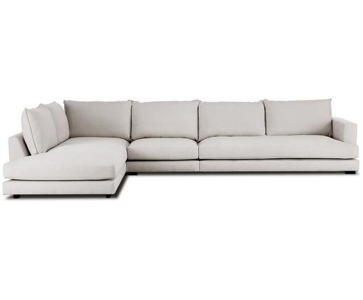 XL-hoekbank Tribeca, Bekleding: polyester, Zitvlak: schuimstof, vezelmateriaa, Frame: massief grenenhout, Poten: gelakt massief grenenhout, Beigegrijs, B 407 x D 230 cm