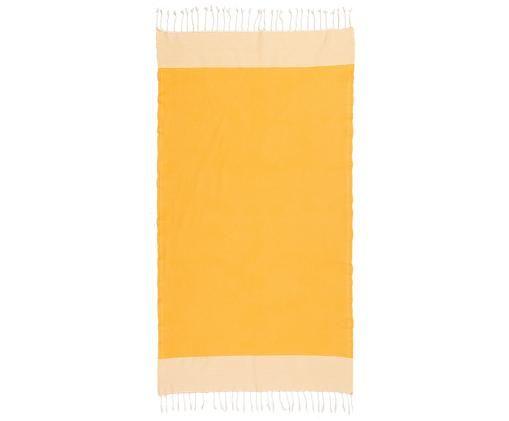 Hamamtuch Ibiza, Baumwolle, sehr leichte Qualität, 200 g/m², Safrangelb, Weiß, 100 x 200 cm