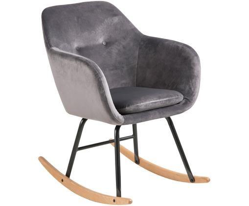 Fluwelen schommelstoel Emilia, Bekleding: polyester (fluweel), Poten: gepoedercoat metaal, Poten: mat zwart Slede: beukenhout Bekleding: grijs, 57 x 81 cm