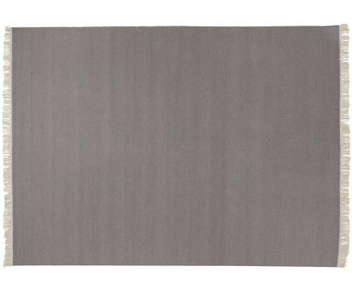 Alfombra artesanal de lana con flecos Rainbow, Parte superior: lana, Reverso: algodón, Gris claro, An 170 x L 240 cm (Tamaño M)