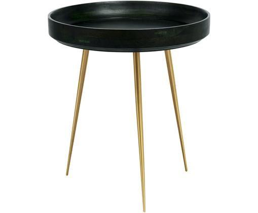 Design-Beistelltisch Bowl Table aus Mangoholz, Tischplatte: Mangoholz, mit bleifreiem, Beine: Metall, vermessingt, Nori Grün, Messingfarben, Ø 46 x H 52 cm
