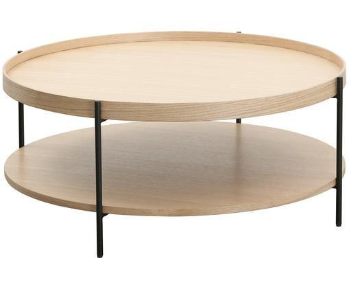 Großer Couchtisch Renee mit Ablagefach, Tischplatten: EichenholzGestell: Schwarz, matt