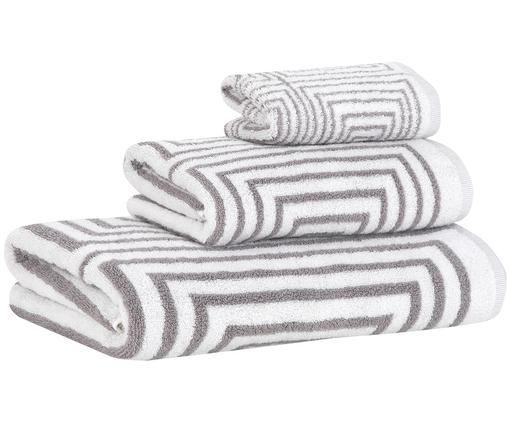 Set asciugamani Billy, 3 pz., 100% cotone, qualità media 550g/m², Grigio, bianco, Diverse dimensioni
