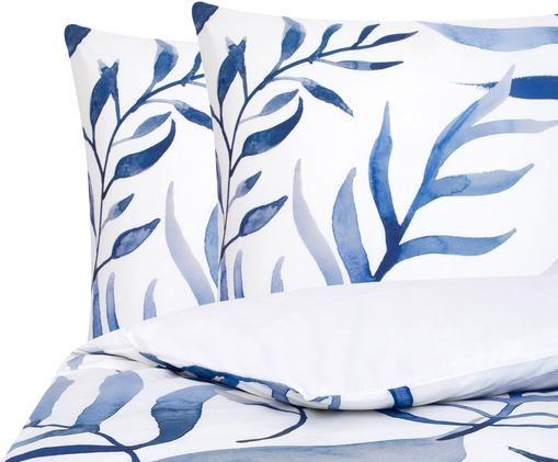 Perkal-Bettwäsche Francine, Webart: Perkal, Vorderseite: Blau, Weiß Rückseite: Weiß, 200 x 200 cm