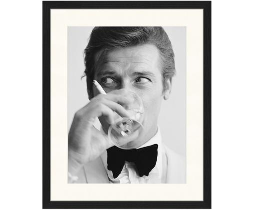 Gerahmter Digitaldruck James Bond Drinking, Bild: Schwarz, Weiß Rahmen: Schwarz