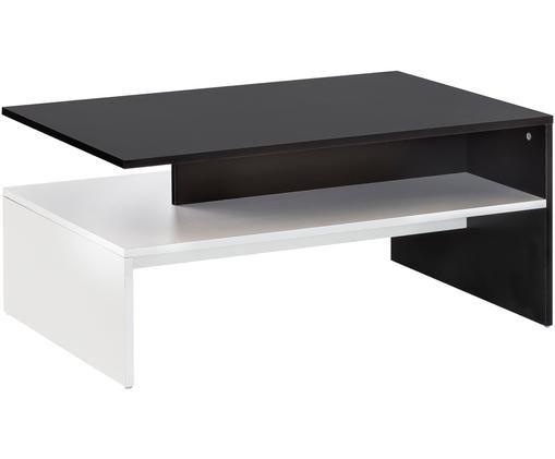 Moderner Couchtisch Murphy in Schwarz und Weiß, Spanplatte, melaminbeschichtet, Weiß, Schwarz, B 90 x T 60 cm