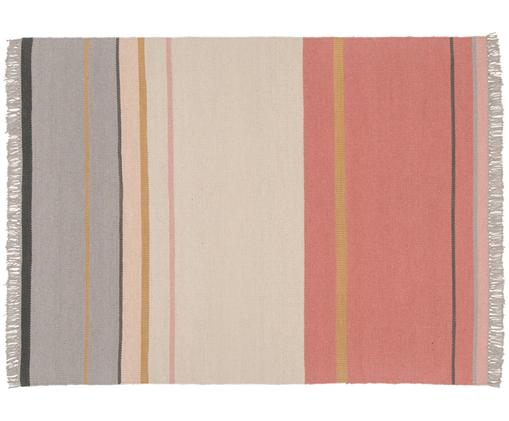 Tappeto di lana tessuto a mano Metallum con frange, Multicolore