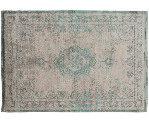 Alfombra de chenilla Medaillon, estilo vintage, Parte superior: chenilla (algodón), Reverso: tejido de chenilla, recub, Verde, rosa, An 140 x L 200 cm (Tamaño S)